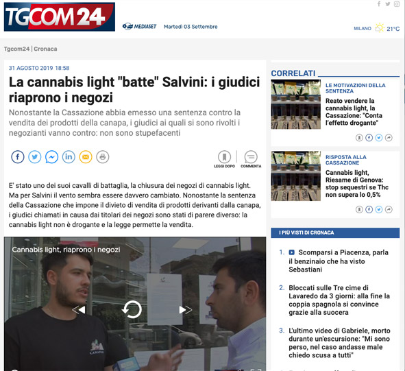 tgcom24 cannabis batte salvini