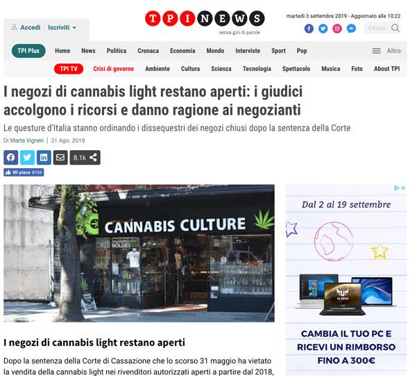 tpi news negozi cannabis aperti