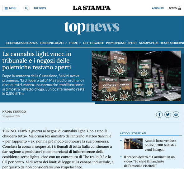la stampa cannabis light vince